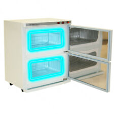 WHITE 2 Cabinet Hot Towel Warmer UV Sterilizer Sanitizer Beauty Salon Equipment