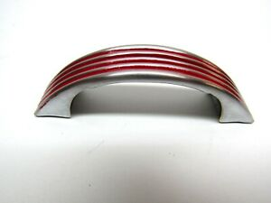 Vintage CHROME Drawer Pull Cabinet Handle w RED Lines Ribbed Face Mid Century