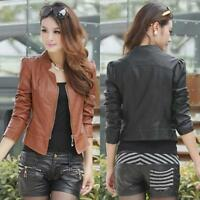Vintage Women Ladies Slim Biker Motorcycle PU Soft Leather Zipper Jacket Coat