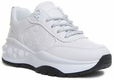 Guess Womens Cleao Active Lace up Trainer In White Size UK 3 - 8