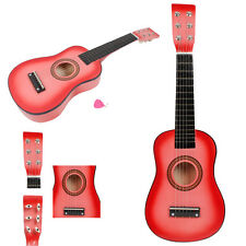 """New 23"""" 15 Frets Plywood Toy 6 Strings Practice Children's Acoustic Guitar Pink"""
