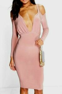 Boohoo Dress Bodycon Open Shoulder Midi Rose Dusky Pink Size 10 New with Tags