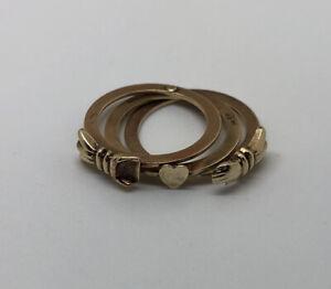 Antique 10k Gold Handshake Mani In Fede Gimmel  Ring Hidden Heart Triple Band