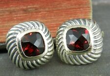 David Yurman 925 Sterling Silver & 14K Gold Albion Garnet Earrings