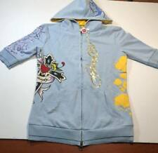 ED HARDY INTIMATES Style 8006-LM ( GIRLS JUNIOR X-SMALL ) Full Zip Blue Hoodie
