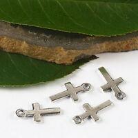 90pcs tibetan silver color mini cross charms h2654