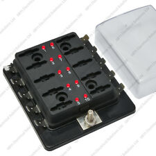 10 Way Blade Fuse Box / Holder Bus Bar With LED Failure Warning 12V 24V