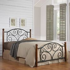 Bed Frame Queen With Headboard And Footboard Black Metal Walnut Wood Set
