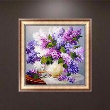 Lavender DIY 5d Round Diamond Rhinestone Cross Stitch Painting Home Decor