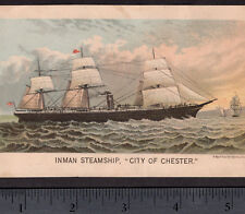 Inman Line Steamship City of Chester Ship NY Victorian Advertising Trade Card