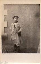 BJ413 Carte Photo vintage card RPPC enfant écolier tablier béret sac musette