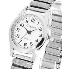 Damenuhr Classix Farbe silber weiß mit Zugband Flexband Stretchband 28mm