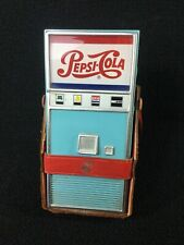 RARE VINTAGE PEPSI COLA VENDING MACHINE TRANSISTOR RADIO WITH RED LEATHER CASE