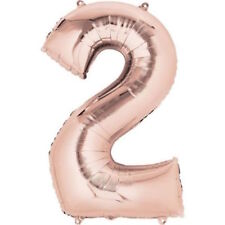 "16"" Rose Gold Number 2 Two Air Filled Foil Balloon 2nd Birthday Party Supplies"
