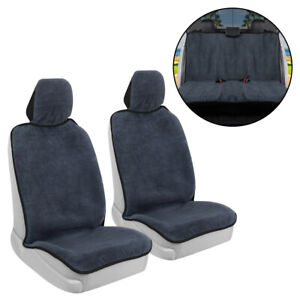 Full Set Car Seat Cover Towel Front and Rear Covers - Sweat Resistant Black Trim