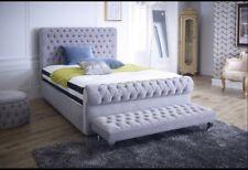 Akelia Sleigh Crushed Velvet Bed