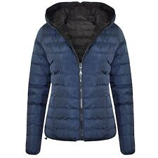 Womens Reversible Hooded Puffa Zip up Quilted Padded Warm Jacket Coat Navy/black Large