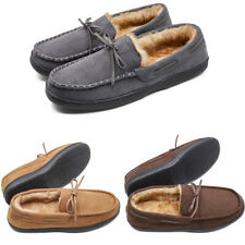 Men's Moccasin Slippers Indoor Outdoors Microsuede Slip On Shoes Loafer Flats