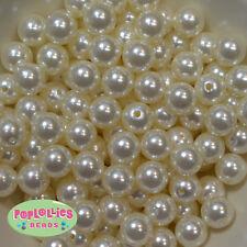 14mm Cream Acrylic Faux Pearl Bubblegum Beads Lot 20 pc.chunky gumball