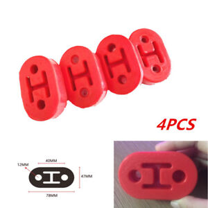 4pcs Car Motorcycle Rubber Exhaust Hangers Pipe Mounting Bracket 12mm Holes Red
