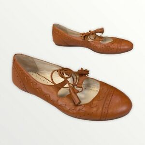Brooks Brothers Womens Mary Jane Flat Shoes Brown Leather Lace Up Tassel 8.5