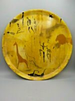 Mid Century Modern Fiberglass Serving Tray African Native Dancers Warriors 15""