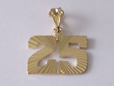 Game Day Number 25 Pendant 24k gold plated diamond-cut Team Player Number 25