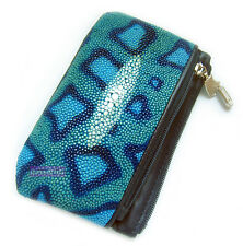 GRAPHIC PAINTING DESIGN STINGRAY SKIN LEATHER LUXURY KEYS HOLDER COINS
