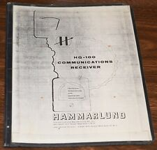 VINTAGE HAMMARLUND HQ-100 COMMUNICATIONS RADIO RECEIVER INSTRUCTION BOOK MANUAL