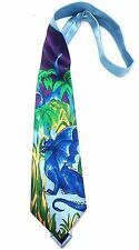 Mens Neck Tie Dress Casual Fun Blue Hawaiian Dragon Palm Shark Dinosaur Island B