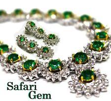 $150000 Natural Emerald necklace 18K Gold Diamond Earring estate vintage antique