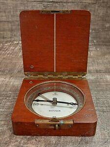 1903 DIETZGEN NAVIGATION COMPASS WOOD CASE BRASS LATCH HINGE