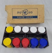 Vintage  Po Do Plastic Poker Chips Embossed w/ Boston Terrier with Caddy & Box
