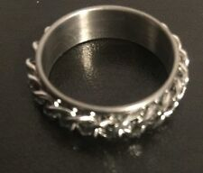 Quality Size 9 New W Tag Stainless Steel Spinning Chain Link Ring High