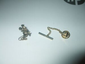 Vintage Gold Colour Disney Micky Mouse Tie Pin and Chain.