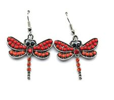 Red Bead & Crystal Dragonfly Dangle Hook Earrings