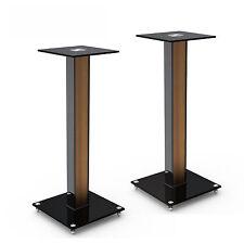2x Boxenständer Holz-Streifen Extra Hoch Glas Alu Säule Podest Lautsprecher