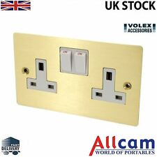 Volex 13A Double Switched Socket Double Pole w/ Brushed Brass Metal Plate