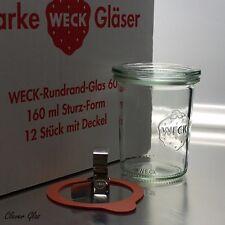 12 WECK ® Einkochgläser Einmachglas 160ml Sturzform RR60 - Auswahl Zubehör