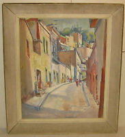 !! Vintage CHARLES ALLENBROOK Listed FLORIDA POMPANO BEACH? City Street PAINTING