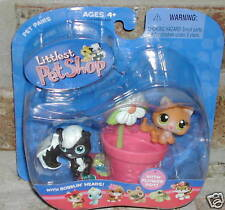 Littlest Pet Shop SKUNK #85 Kitten #86 Flowerpot 2005