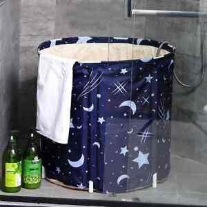 70cm Folding Bathtub PVC Portable Bath Bucket Water Tub Adult Spa Bucket BLUE