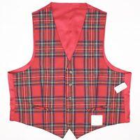Jos A Bank Mens Vest Waistcoat 48R Reversible Red Royal Stewart Tartan Wool