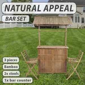 vidaXL Outdoor Bar Counter Set 3 Piece Bamboo Garden Patio Furniture Stool