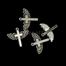 20pcs Tibet Silver Angel Wing Cross Charms Pendants Beaded Jewelry Findings