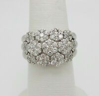 4.99 ct Round cut Cluster Diamond  Engagement Ring Solid 14k White Gold
