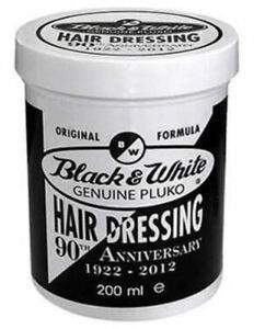 NEW - BLACK & WHITE ORIGINAL PLUKO - HAIR STYLING POMADE LRG 200ml