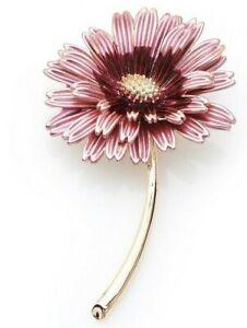 BROOCH Trendy Enamel Pink Daisy Flower Pin-on Brooch for Women Gift for Mum