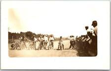 1910s MOTORCYCLE RACE Real Photo RPPC Postcard Starting Line Track Scene UNUSED