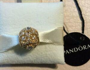 NEW $400 Pandora All 14K GOLD Inner Radiance Charm 585 ALE 750838 CZ Bead
